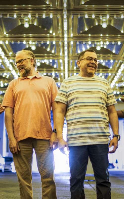 Four men under Laughlin casino lights