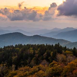 Sunset at Cowee Mountains overlook with early fall color (2018)