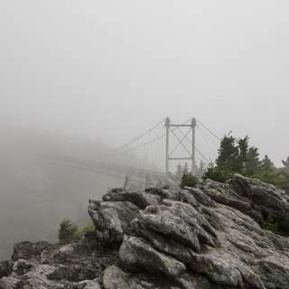 Foggy Grandfather Swinging Bridge