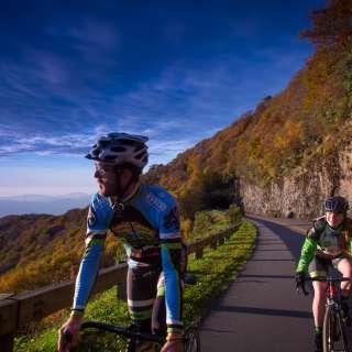 Couple road biking on BRP
