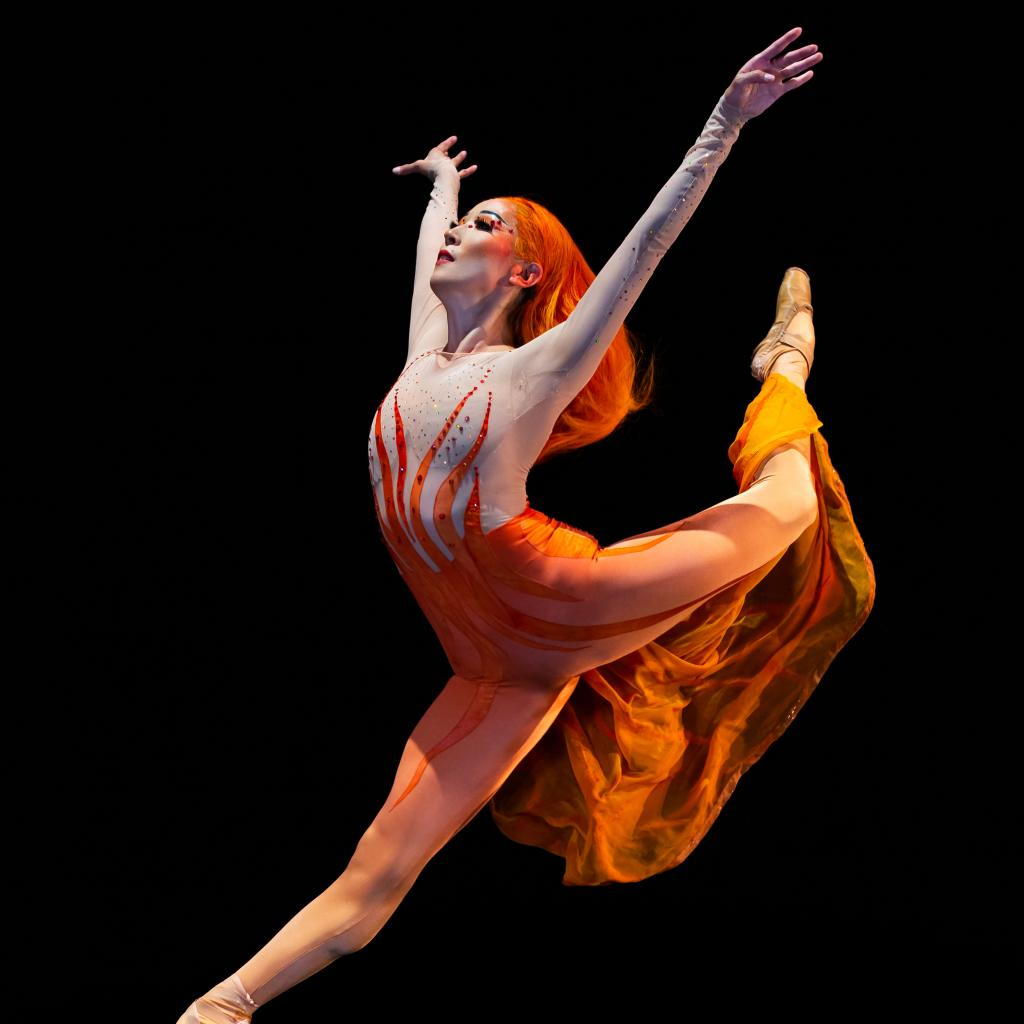 Ballet dancer leaping into the air