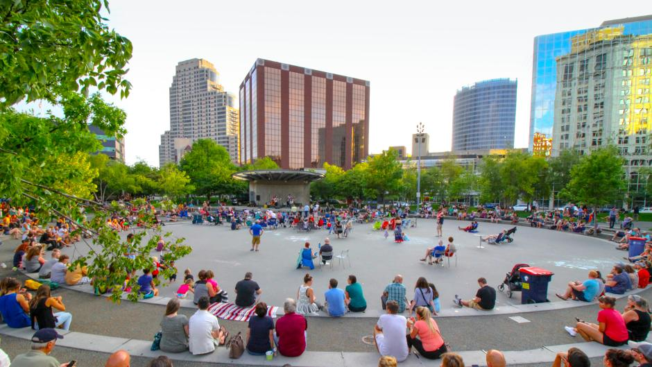 Project 1 kicks off at Rosa Parks Circle with a ribbon cutting and perfomances by BANDALOOP, Grand Rapids Ballet, and much more.
