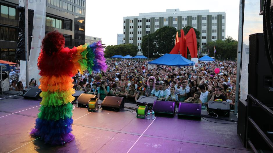 Batty Davis performing at Pride Festival 2018 at Calder Plaza in Grand Rapids