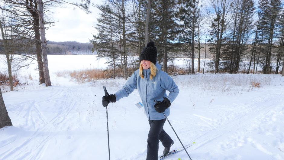 Cross-country skiing is a great way to explore the wintertime landscape, regardless of skill level.