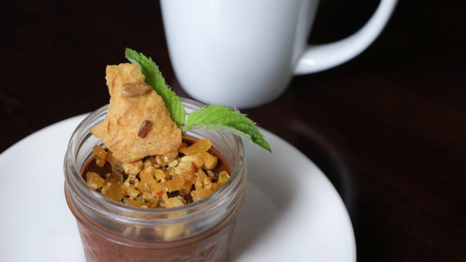 The Vegan Chocolate Pudding is a delicious dessert from the vegan/vegetarian menu at Grove.