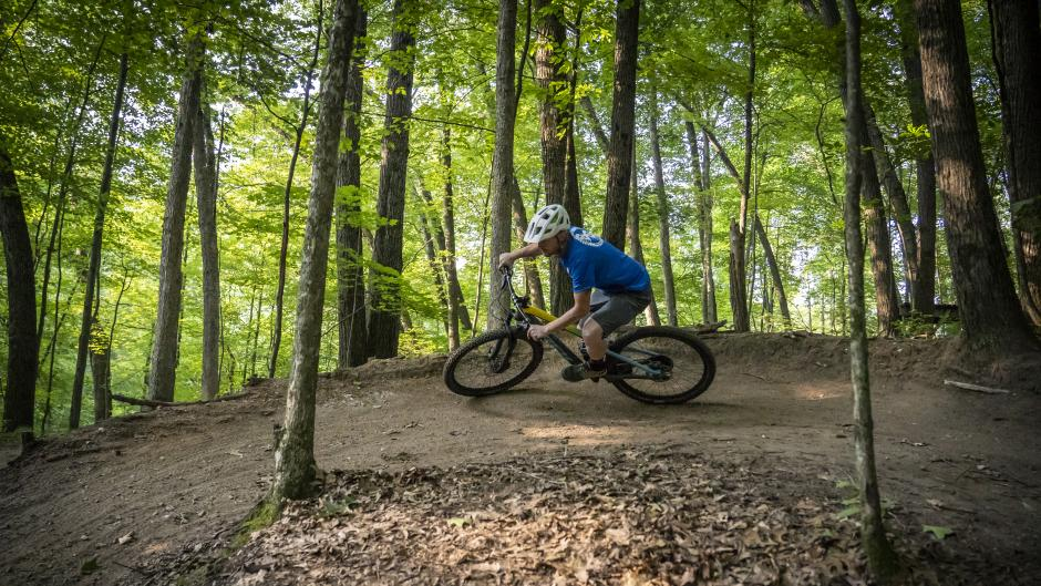 Mountain biking trails in Cannonsburg Ski Area.