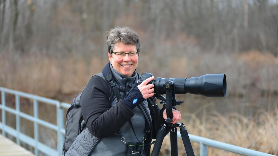 Bird photographer Jan Lewis at Reed's Lake