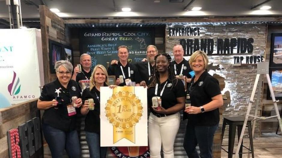 Experience Grand Rapids' booth at the annual American Society of Association Executives (ASAE) took 1st place in 'Best in Show' with the help of local partners like Dave Engbers, co-founder of Founders Brewing Co.
