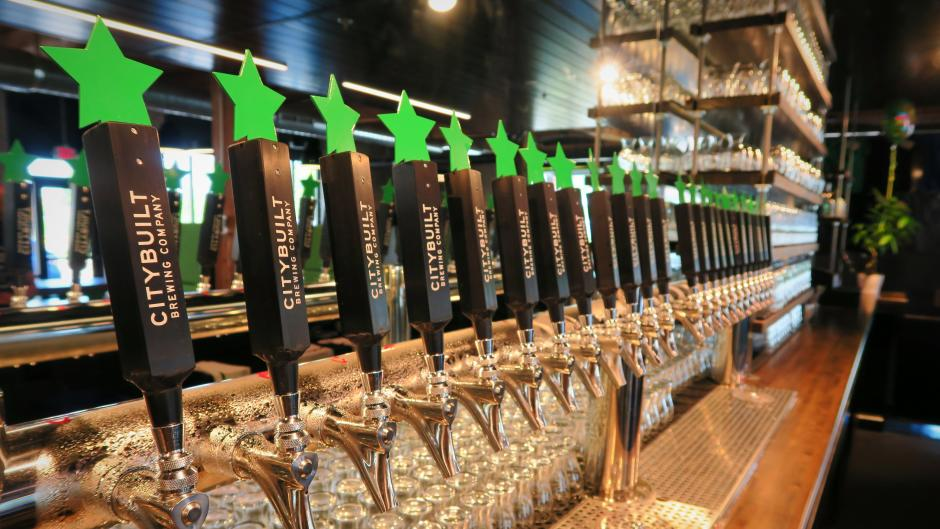 City Built currently features 9 original beers from 24 tap handles.