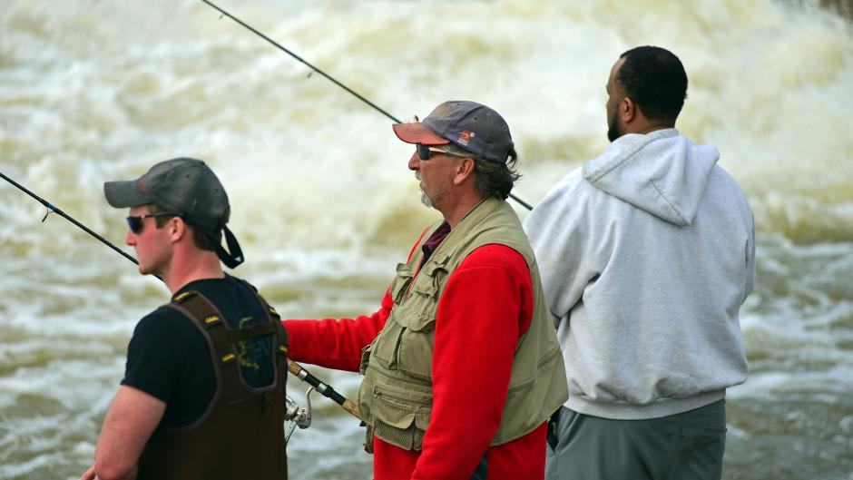 Anglers enjoy the spring steelhead run on the Grand River.