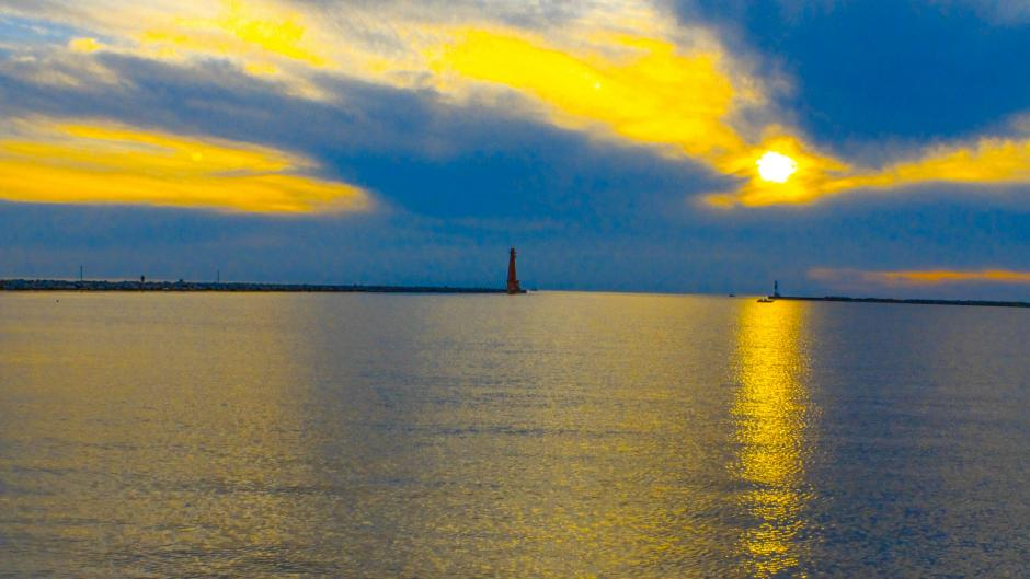From the Pere Marquette Park you can see the Muskegon Break Water Light on Lake Michigan.