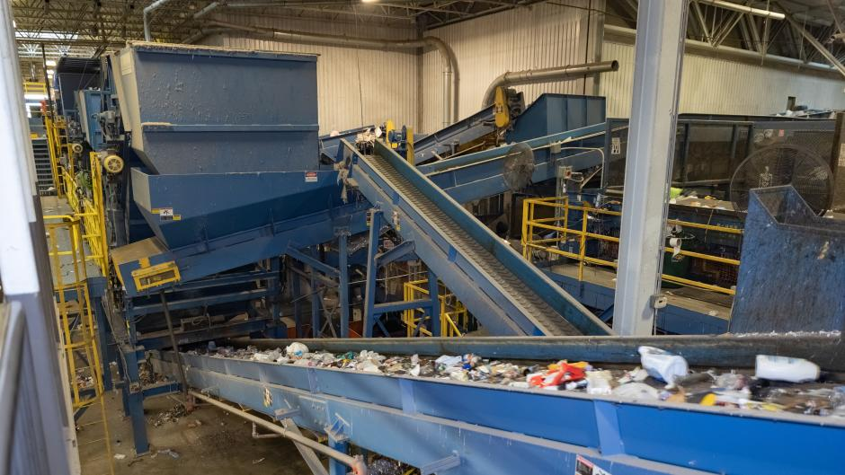 Conveyor belt transports plastic at the Kent County Recycling and Education Center.
