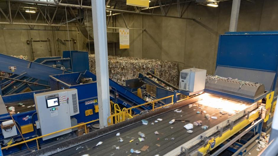 Re focus Summit visited the Kent County Recycling and Education Center for a tour during their conference in Grand Rapids.