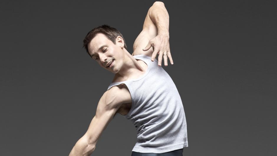James Sofranko Grand Rapids Ballet's artistic director in a ballet pose