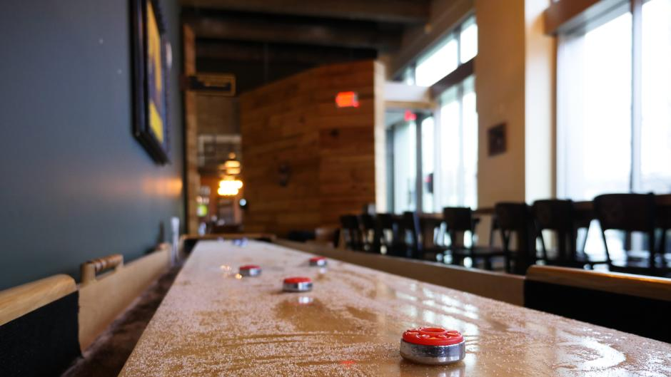 Atwater Brewery hosts a perfect setting for work and play. The space offers various seating and entertainment options to accommodate groups of all sizes.