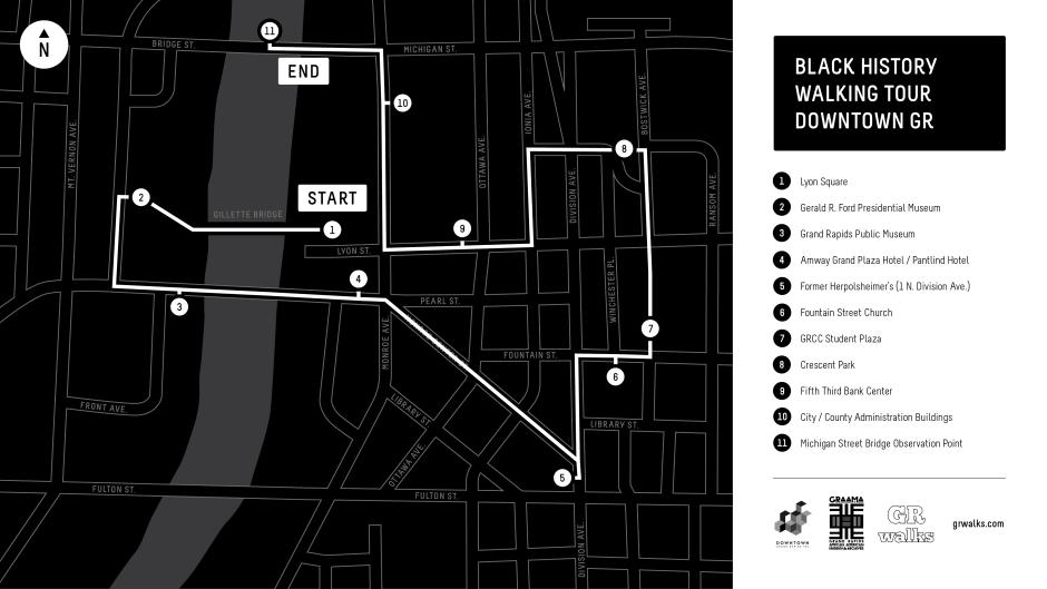 This handy map of the Black History Tour of Downtown Grand Rapids shows all 11 stops.