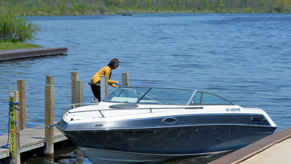 Boaters can temporarily tie up at the dock at Wabasis Lake.