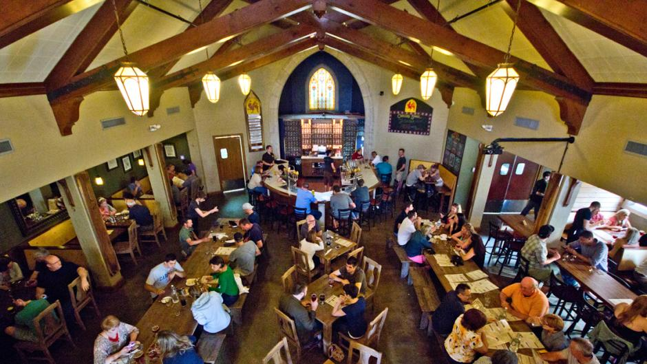 Brewery Vivant emphasizes community gathering of all ages in its taproom.