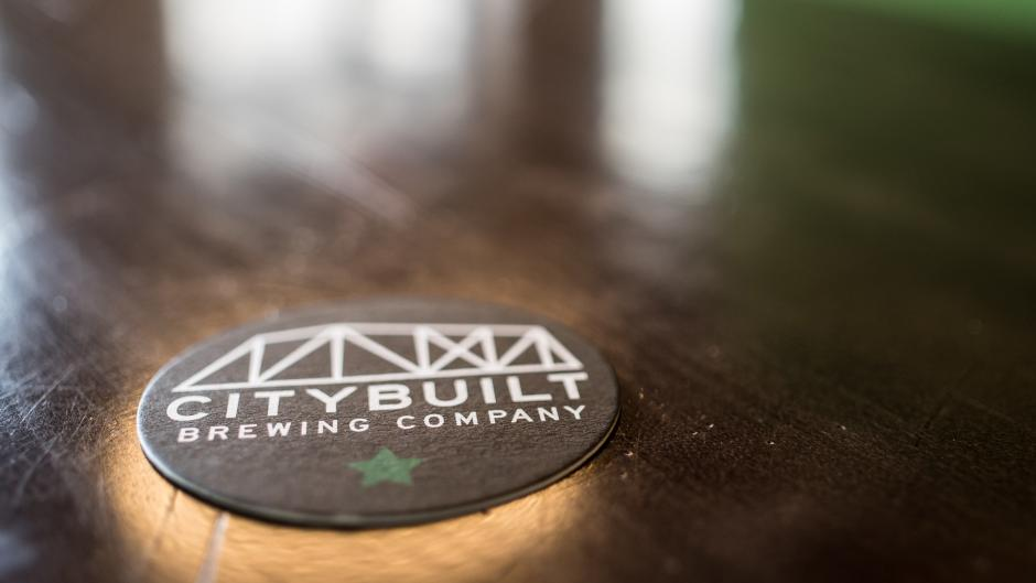City Built Brewing Co. coaster on bartop
