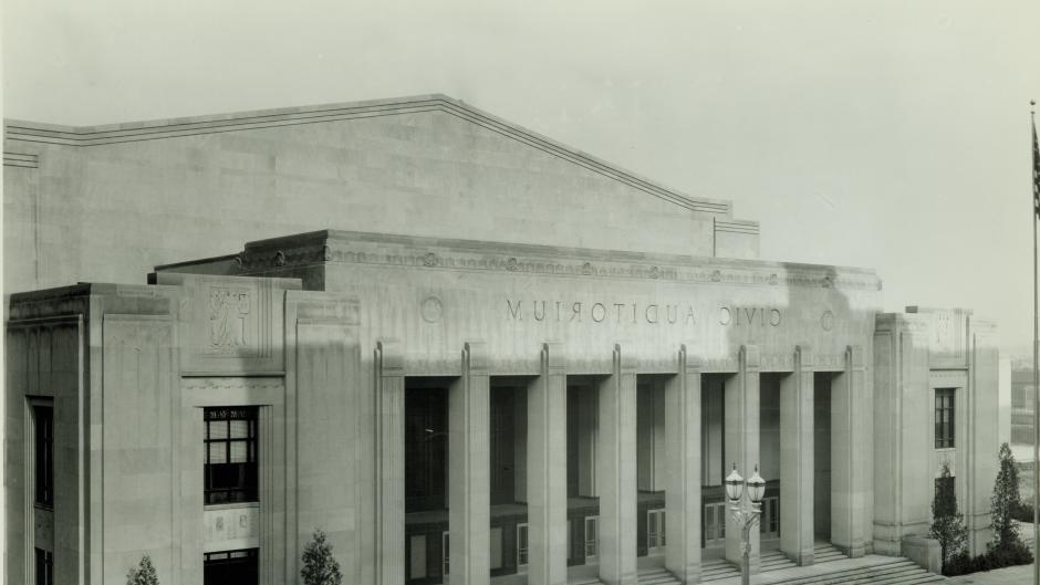 Across the Exhibitors Building, you'll find the Civic Auditorium, named for the city manager who commissioned its construction during the Great Depression, by the river.