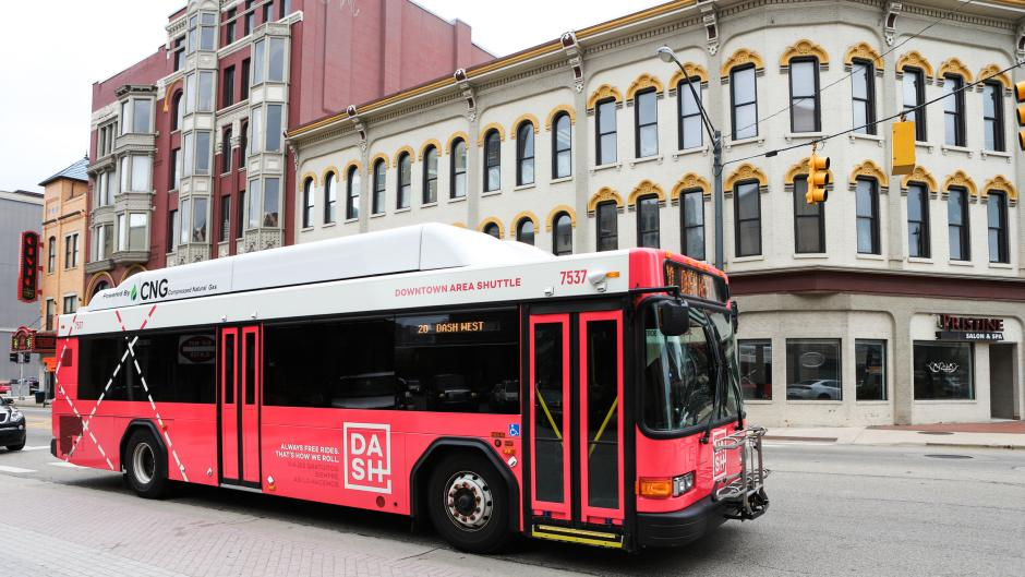 Red bus of Grand Rapids' downtown area shuttle (DASH)