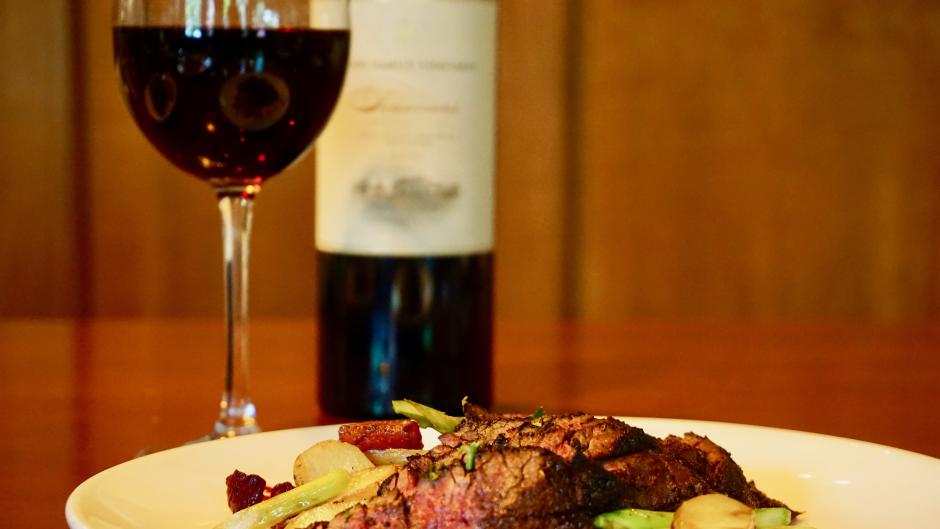Pair your RWGR meal, like the Imperial Wagyu Blackened Hanger Steak, with a glass from Judson's wine menu.