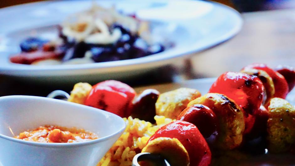 Divani's RWGR menu includes vegetarian options like the grilled vegetable skewers and the peppadew-feta cheese ball.