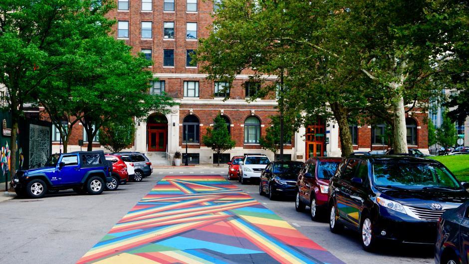 The Rainbow Road street mural on Sheldon Ave NE in Grand Rapids.