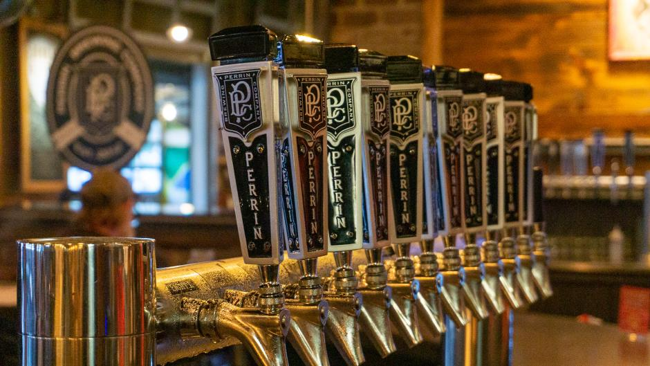 A row of beer taps at Perrin.