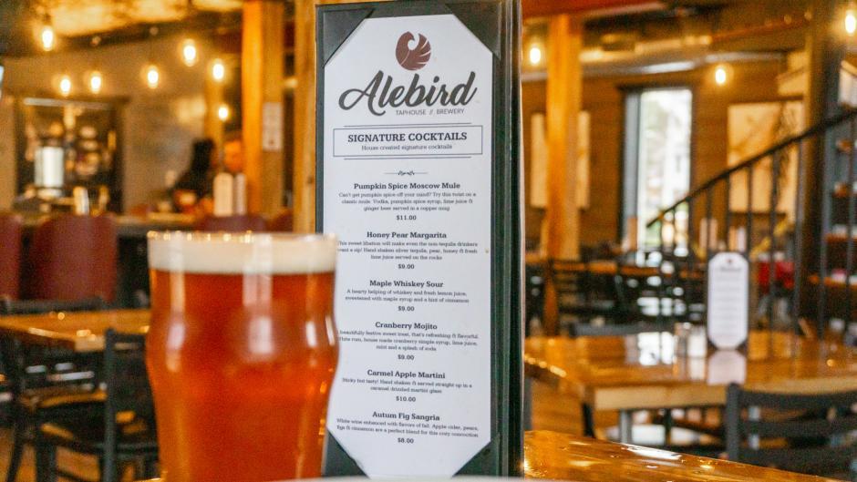 Signature cocktail menu at Alebird Taphouse & Brewery.
