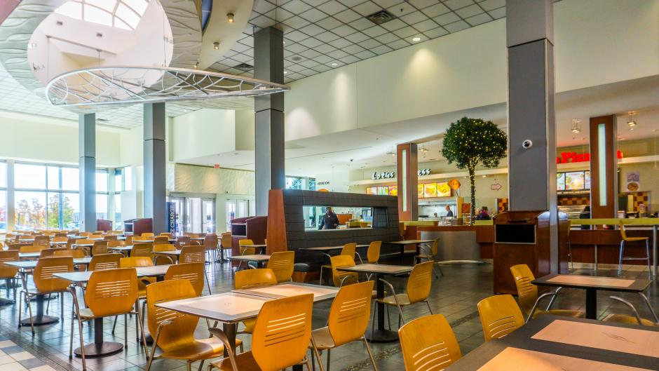 Inside the Woodland Mall food court.