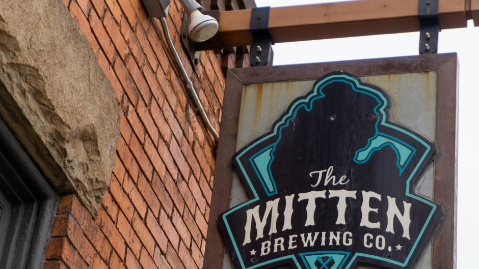 Mitten Brewing Co. sign.