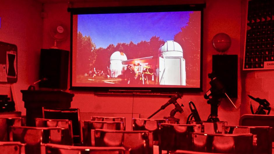 Guests can watch a 15-minute audiovisual presentation and visit the observatory's library.