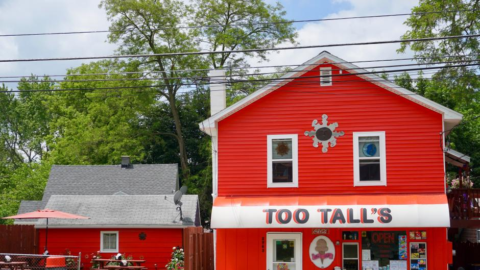 Too Tall's offers soft serve ice cream and other treats, as well as a full food menu.