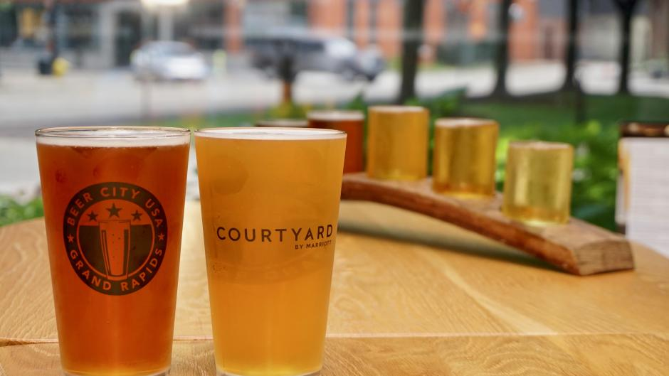 The Courtyard by Marriott beer package includes two pint glasses for two people, as well as breakfast and valet or self parking for one vehicle.