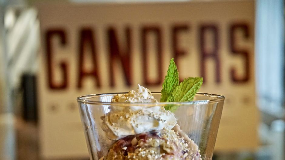 Finish your RWGR meal with a dessert. Try Ganders' unique Sweet Corn Gelato, made with local sweet corn, blackberry jam, oat crumble, and sweet cream