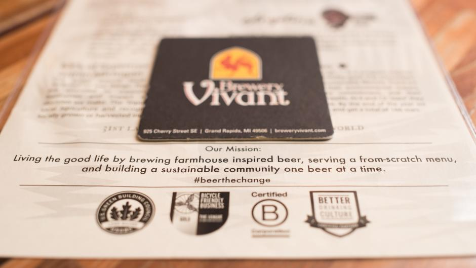 Brewery Vivant focuses on building a sustainable community by investing in local materials. 50 percent of Brewery Vivant's food input and 25 percent of its drink input is grown within 250 miles of its East Hills location.