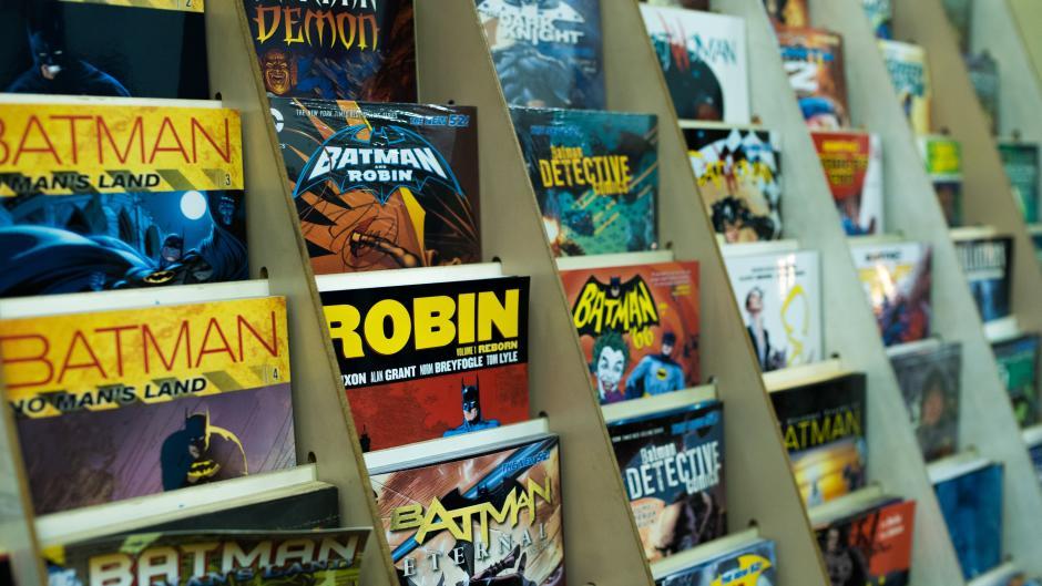 Comic books displayed at White Cap Comics