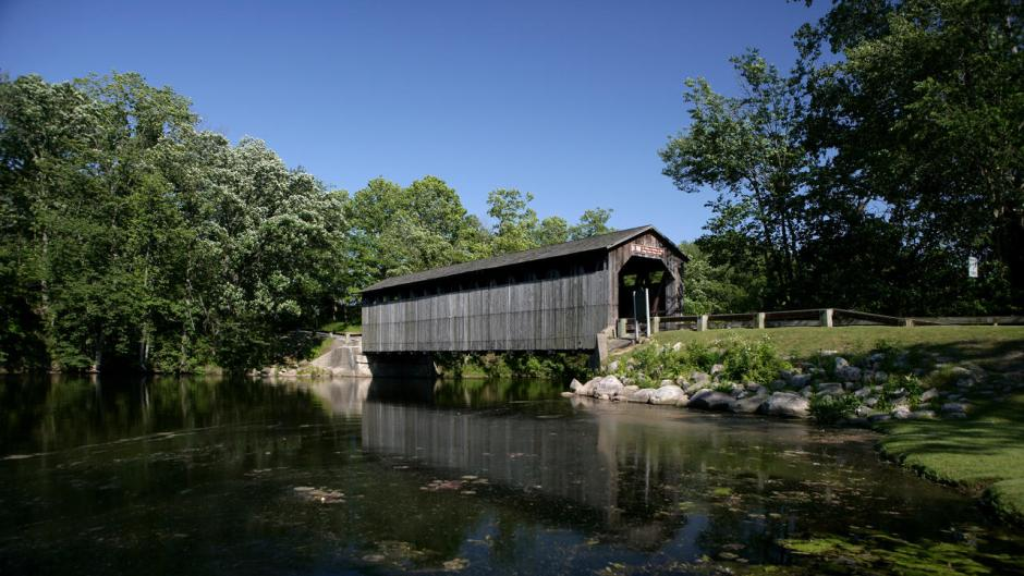 Fallasburg Park offers plenty amenities including three playgrounds, fishing, disc golf, hiking trails, and a bridge built in 1871 that you can still drive over.