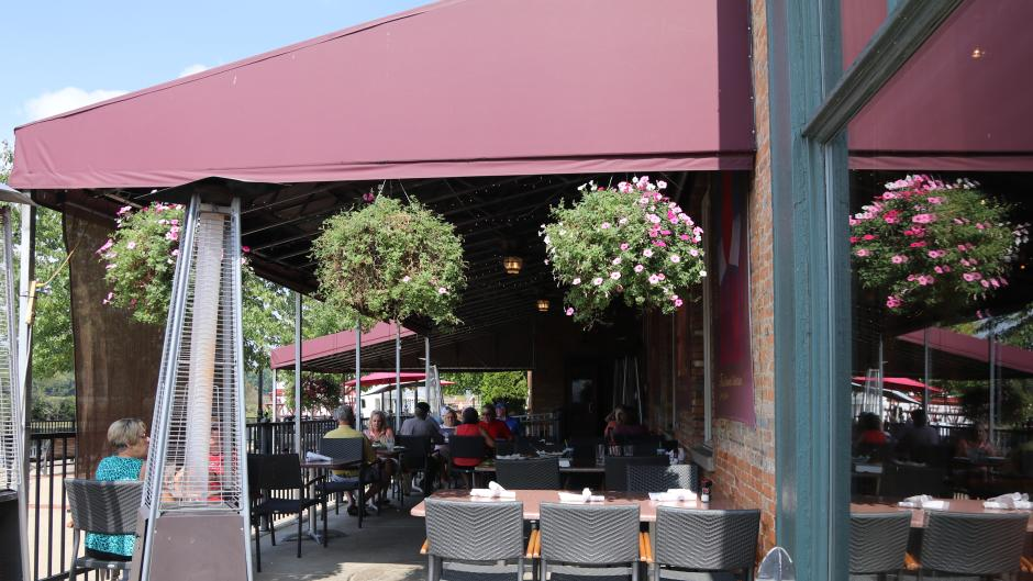 Sit on the Flat River Grill's outdoor patio for dinner with a view!