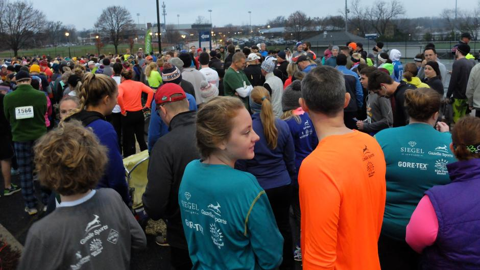 Runners getting ready for the Gobble Wobble in East Grand Rapids.