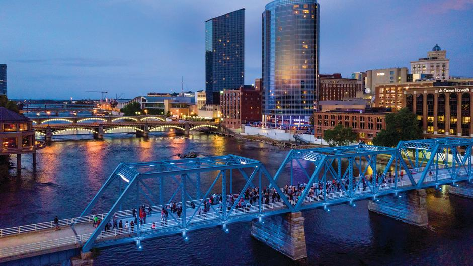 The Blue Bridge, a Project 1 location, in Grand Rapids at dusk