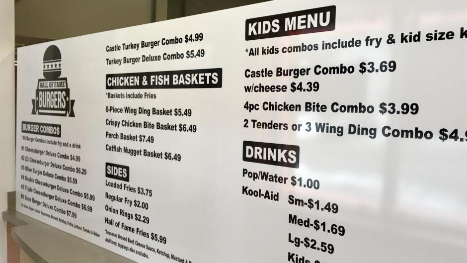 Hall of Fame Burgers features a kids' menu.