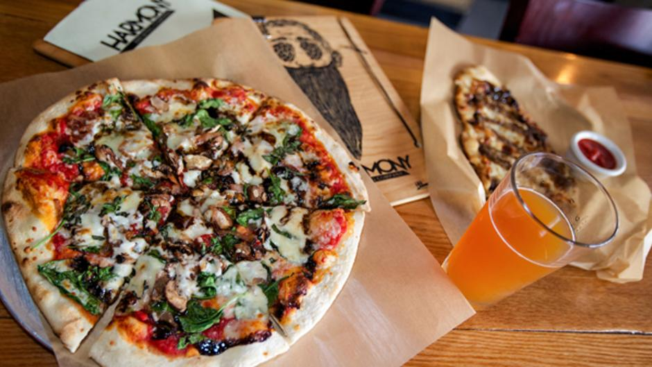 Harmony Brewing's two locations each offer unique specialty pizzas and craft beer.