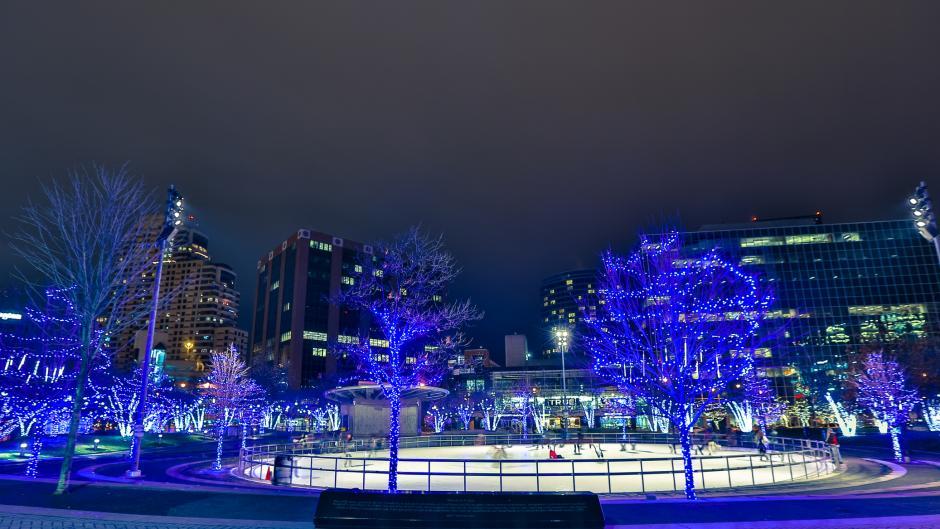 Holiday lights display surrounding Rosa Parks Circle skating rink