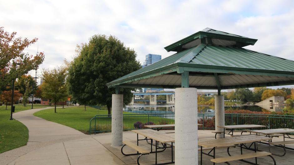 Located in downtown Grand Rapids, Sixth Street Bridge Park is a great spot to eat and take in views of the river and the city.