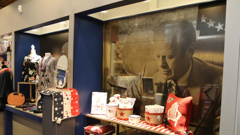 Fan-favorite items of the Gerald R. Ford Presidential Museum's Gift Shop include: Presidential mugs, key chains, scenic postcards, holiday ornaments, and Michigan-themed gift items.