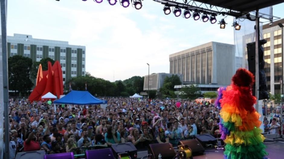Batty Davis performing at 2018 Pride Festival in Grand Rapids