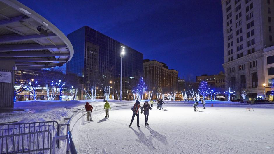 Show off your hot skating skills as Rosa Parks Circle turns into an ice rink each winter.