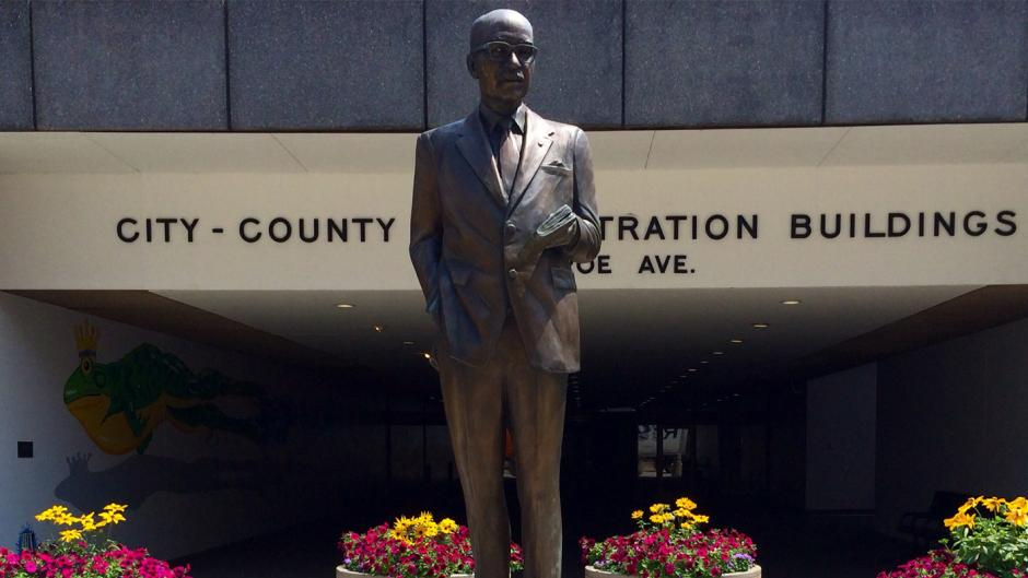 This statue of Mayor Lyman Parks, Grand Rapids' first African American mayor, stands outside the City/County Administration Buildings and is one of the stops on the Black History Tour of Downtown Grand Rapids.